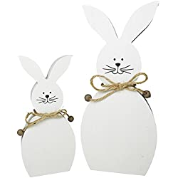 Conejito decorativo Conejo de Pascua de madera Juego de 2 en blanco