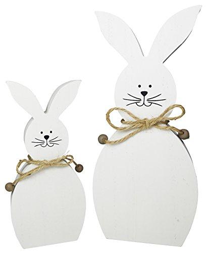 Decorazioni pasquali Deco Coniglio bianco Set di 2