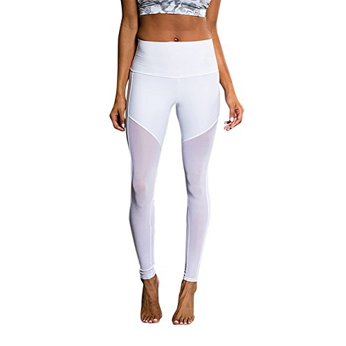 iBaste Patchwork Mesh Femme Sport Pantalons Capri Jogging Yoga leggings Blanc