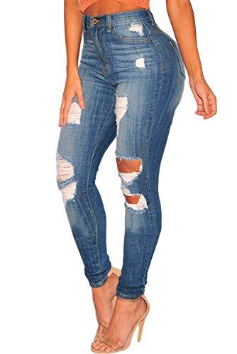 Aleumdr denim jeans donna a vita alta jeans donna strappati lunghi skinny pantaloni donna blu - l