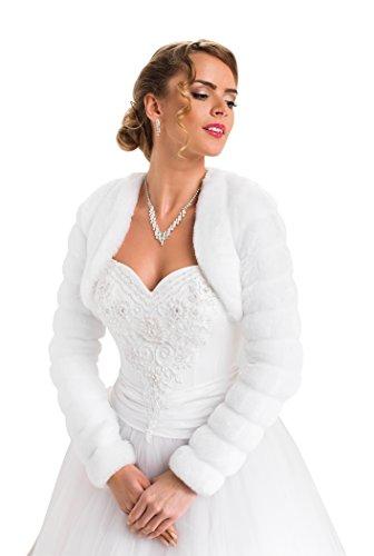 Bolero Hochzeit Jacke Pelerine für die Braut Pelzstola langer Ärmel volles Futter, Weiß, Gr. 42