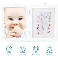 Marco foto huella bebé LENBEST, marco foto huella, pasta para huellas bebe - Kit de marco de foto recién nacido Regalos de ducha para registro de bautizo