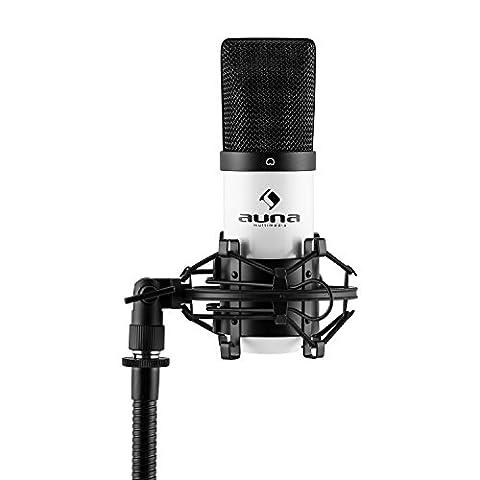 auna MIC-900WH USB Cardioid Studio Condenser Microphone (Plug & Play, USB Connector, 30 Hz - 18 kHz & Shockmount) -