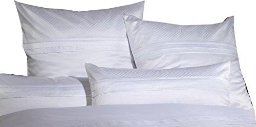 Curt Bauer Mako Brokat Damast Bettwäsche Sanssouci Größe 140×200+70×90 cm Farbe Weiß