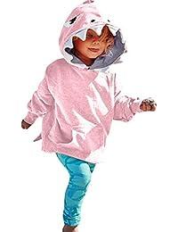 PinkLu Sudadera con Capucha De Dibujos Animados De TiburóN De Manga Larga para NiñOs Rosa del Bebé NiñAs Manga Larga De Dibujos Animados TiburóN con Capucha Superior Ropa