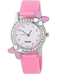 Swadesi Stuff Exclusive Premium Quality Diamond Studded Pink Butterfly Stylish Analog Watch For Girls & Women