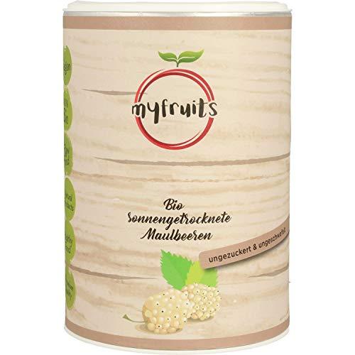 myfruits weiße Bio Maulbeeren - sonnengetrocknet, ohne Zusätze. Aus kontrolliert biologischem Anbau DE-ÖKO-003 Abgefüllt in Deutschland - finest superfood 300g