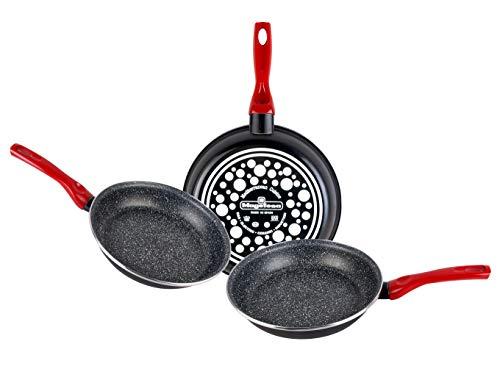 Magefesa Niger Set Of Frying Pans, Steel, Black, 24cm, Pack of 3
