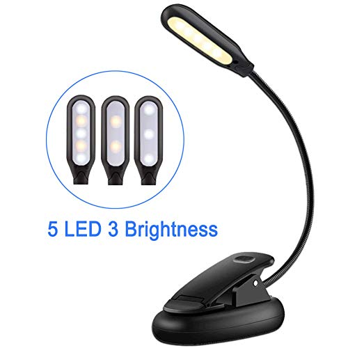 Reading Light,EMIUP Battery Powered Book Lights 3 Modes(Warm White Light)LED Clip Reading Lamp with Eye Care Brightness for Reading Books,Bedtime Reading,Music Stand,Laptop,Kindle E-Reader(5LED&Black)