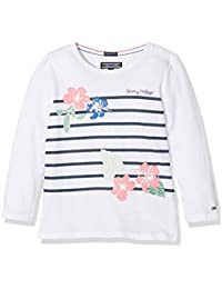 Tommy Hilfiger Flower Stripe Cn Knit L/S, Maglia a Maniche Lunghe Bambina