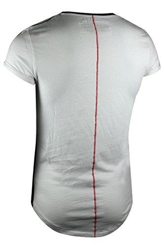 trueprodigy casuale uomo maglietta motivo stampa, abbigliamento urban moda girocollo (manica corta & slim fit classic), t-shirt moda vestiti colore: bianco 1072133-2000 White