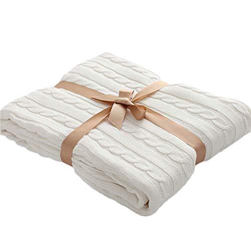 Nordic Strickdecke Bettüberwurf, super weich, gedrehte Baumwolle, Wolldecke, groß, waschbar, für Bett, Stuhl, Sofa, Couch Büro, Lunch Break Line Decke (120 x 180 cm) weiß