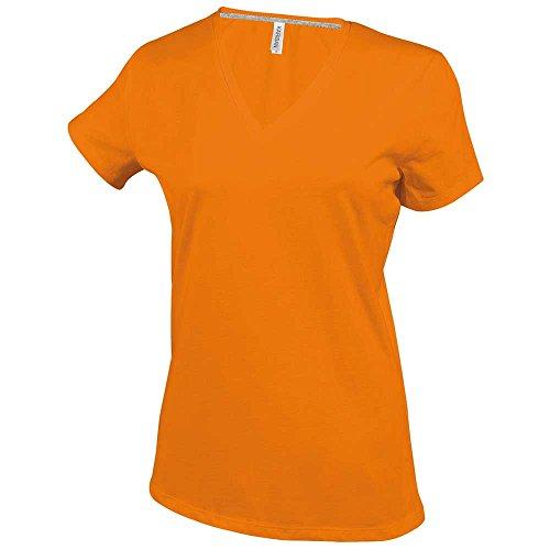 Kariban Ladies Fit Short Sleeve V Neck Plain Colours Cotton T-Shirt -