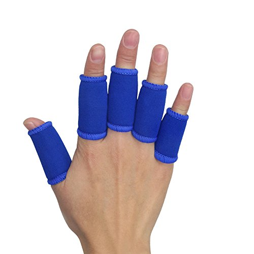Kuangmi 5 x Sport simple-style Finger Sleeve Protector Elastic Finger Guard Bands Packungen für Basketball Volleyball Baseball Badminton Tennis Blau