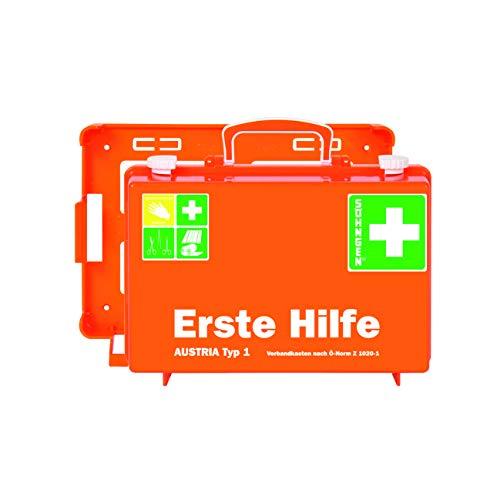 Söhngen 0390138 Erste-Hilfe-Koffer AUSTRIA Typ 1 orange/Erste-Hilfe-Kasten, Unterteilung und Wandbefestigung, gefüllt; mit aluderm Wundverbände und SIRIUS Rettungsdecke; 20 Jahre sterile Verpackung