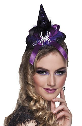 Peeks Black Purple Witch Halloween Fancy Dress Costume Witches Hat on a Headband