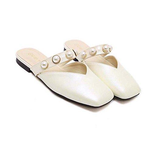 SHEO sandales à talons hauts Chaussures droites antidérapantes Baotou à tête plate à dames ( Couleur : Blanc , taille : 38 ) Blanc