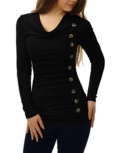 allegra-k-women-cowl-neck-long-sleeves-buttons-decor-ruched-top-black-l