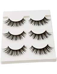 HENGSONG 3 Pair Black False Eyelashes Natural Thick Eye Lashes Makeup Extension