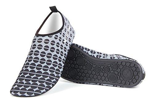 HYSENM Scarpa acquatico 360° Flessibile fresco Cool asciugatura rapida suola antiscivolo per sport spiaggia piscina Surf condotta Yoga grigio