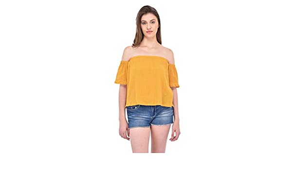 992a1af1851 Rigo Crinkle Viscose Mustard Bardot Top for Women: Amazon.in: Clothing &  Accessories