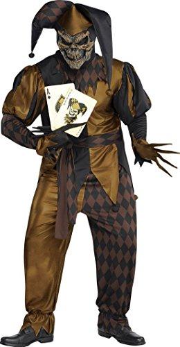 Männer Für Joker Kostüme (erdbeerloft - Herren Kostüm böser Joker- Wild- Karten, Braun, Größe)