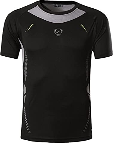 jeansian Men's Sports Breathable Quick Dry Short Sleeve T-Shirts Tee Tops Running Training LSL3225 Black S