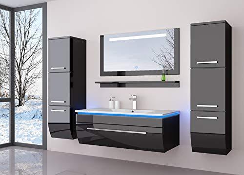 Badmöbel Set Badezimmermöbel Komplett Set Waschbeckenschrank mit Waschtisch Spiegel 2 hochschränke mit LED Hochglanz Fronten Schwarz 70 cm Vormontiert Homeline1 -