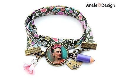 Bracelet Frida, Frida Kahlo, Art bijou, Fridastyle, love amour Frida, pompon fleur rose, nœud, cabochon
