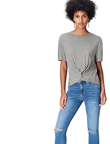 FIND T-Shirt con Nodo Donna Grigio (Grey)