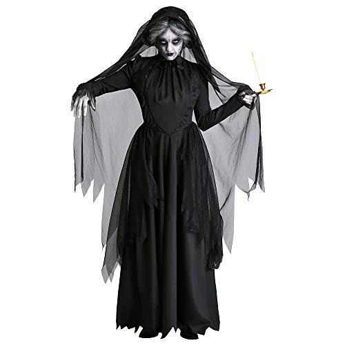 roroz Halloween Kostüm Damen, Weibliche Geisterbraut des Grauens, Dunkel, Vampir, Hexe Maskerade Kostüm Cosplay KostüMe, Karneval, Nacht-Party, Erwachsene,Black-L (Dunkler Karneval Kostüm)