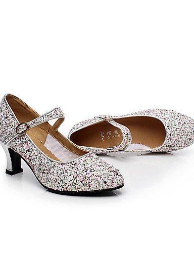 ShangYi Chaussures de danse (Argent/Or) - Non personnalisable - Gros talon - Paillette/Synthetic - Moderne Silver
