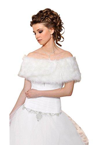 Tolles Cape für Brautkleid aus Nerzfell Imitat und Brosche - B30 (ivory/champagner)
