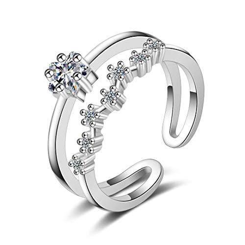 WHX DamenRingeEdelstahl,Doppelter Zirkon-Pentagramm-Ring Wave-Zeigefinger-Ring Offener Handschmuck Für alle Gelegenheite