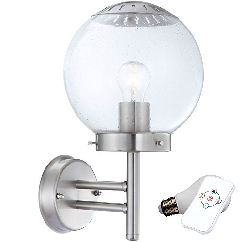 Haus Wand Leuchte Kugel Außen Lampe Hof Beleuchtung im Set inklusive 7 Watt RGB LED Leuchtmittel