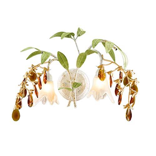 Moderne Kristall LED Wandleuchte Kreative Florentiner Stil Wandlampe mit Glas Schirm Grünes Metall Blumen Blätter Dekorative für Schlafzimmer Wohnzimmer Halle Hotel Cafés, 2 flammig -