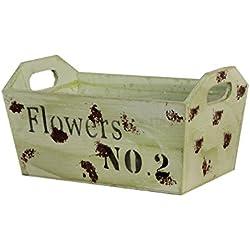 Borras Hnos - Macetero madera rectangular verde con asa. (Color: Verde Tamaño: 29,5x19x15)