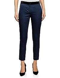 oodji Ultra Mujer Pantalones a Lunares con Cintura de Terciopelo 2b25edcd2fa5