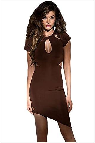 meinice Funky asymétrique ourlet découpé Slash robe sexy - marron - L