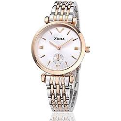 ZHHA 002 Women's Quartz Two-Tone Stainless Steel Waterproof Dress Two Hands Markers Watch