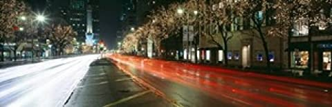 Panoramic Images – Blurred Motion Of Cars Along Michigan Avenue Illuminated With Christmas Lights Chicago Illinois USA Photo Print (91,44 x 30,48 cm)
