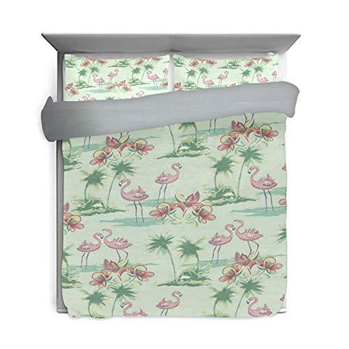 Bennifiry Bettwäsche-Set mit rosa Flamingo-Kokosnussbaum-Muster, 3-teiliges Set, Rückseite aus Baumwolle, Grau für Kinder (1 Bettdeckenbezug, 2 Kissenbezüge) -