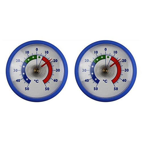 2 Stück Set Rundes Bimetall Analog Klebe Kühlschrankthermometer . Kühlschrank Thermometer Temperatur Anzeige + / - 50 °C . Made in Germany Farbe blau