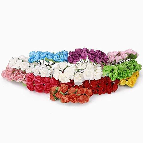 Snner Minipapier Rose Set von 144 PCS künstliche Rose Blumen-1.5cm für für Hochzeitsfest-Hausgarten-Dekor-Fertigkeit DIY Rot Kleine gefälschte Rose