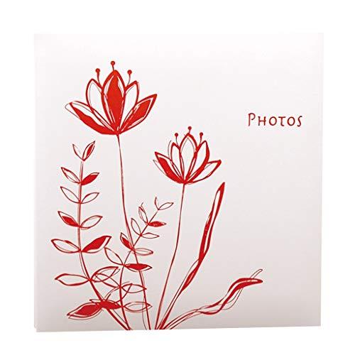 WJJJ Fotoalbum DIY Hand-Einfügen-Album (Lotus-Muster), 20 Blätter (40 Seiten) Weiße Seiten, Familien-Paaralbum, Home Storage Platzierte Fotos Liebe im Tourismus (Farbe: Rot)