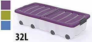 Boîte plastique de rangement sous lit à roulettes