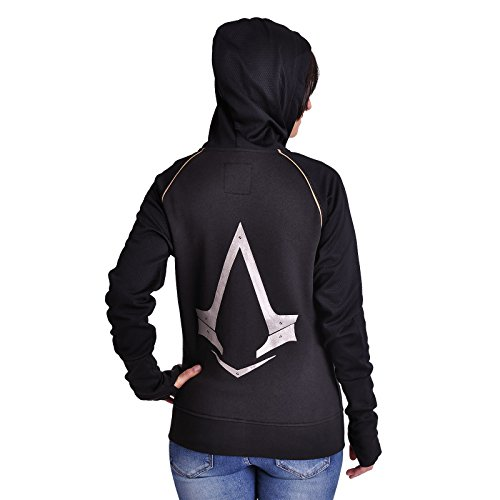 Meroncourt Damen Kapuzenpullover Zipped With Assassin's Logo Schwarz