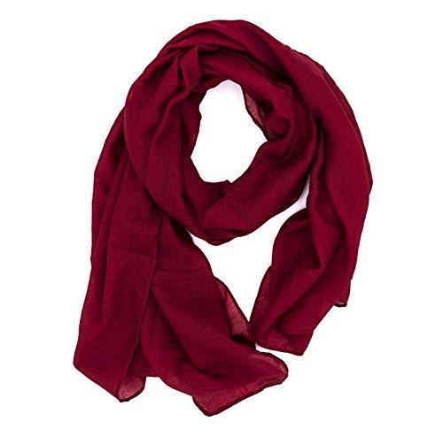 WILD CAT Damen Schal Halstuch Tuch aus Chiffon für Frühling Sommer Ganzjährig (Weinrot)