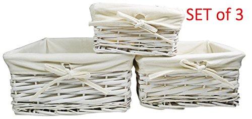 khevga Korb-Set Aufbewahrung Weiden-Korb in weiß (3) (Rattan Körbe 3 Stück)