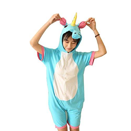 Verano manga corta pijamas animales Unicorn Dinosaur Panda Vaca Cosplay ropa de dormir (S, azul)